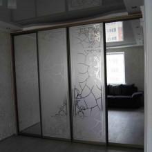 Шкаф с зеркалом и пескоструйным рисунком